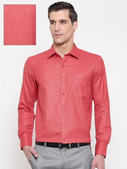 British Club Men Red Regular Fit Solid Formal Shirt