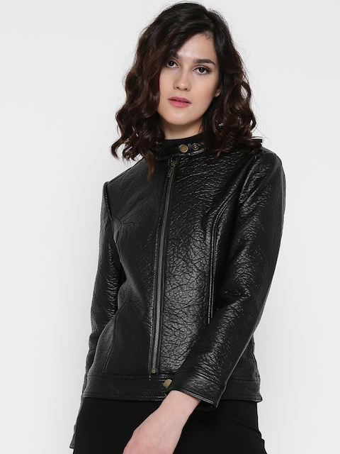 Wills Lifestyle Women Black Solid Biker Jacket