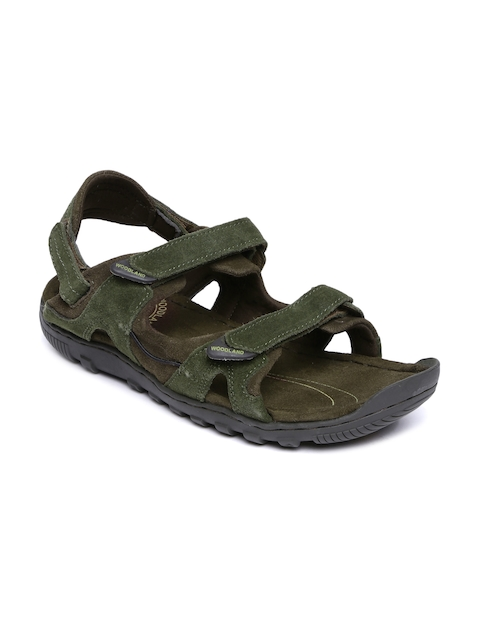 Woodland Men Olive Green & Brown Leather Sports Sandals