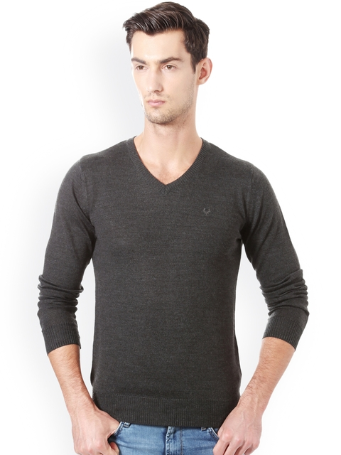 Allen Solly Men Charcoal Grey Solid Pullover
