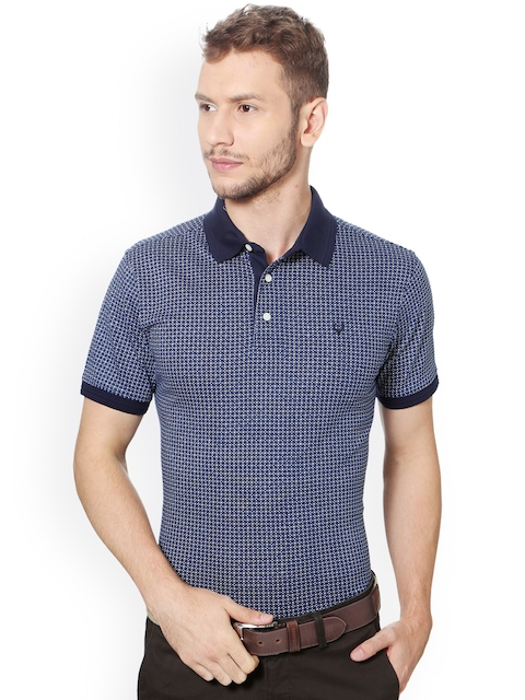 Allen Solly Men Blue Printed Polo Collar T-shirt