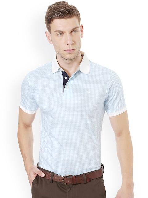 Allen Solly Men Blue & White Printed Polo Collar T-shirt
