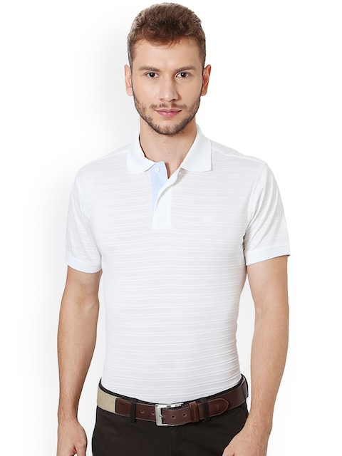 Allen Solly Men White Self-Striped Polo Collar T-shirt
