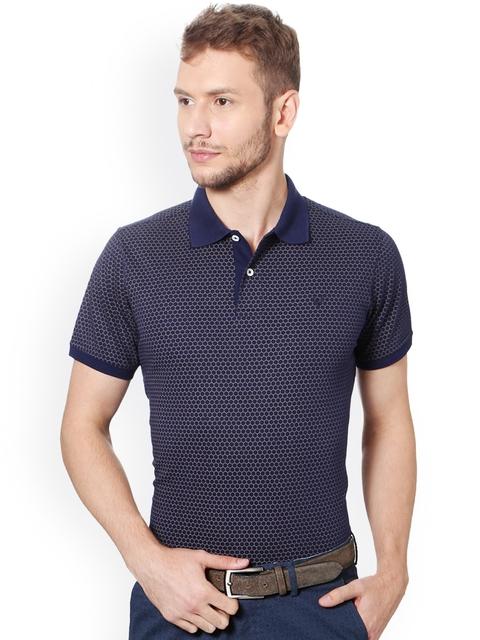 Allen Solly Men Navy Blue Printed Polo Collar T-shirt