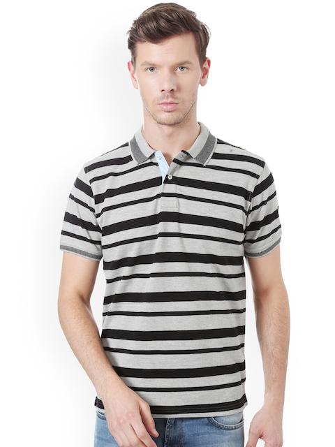 Allen Solly Men Grey & Black Striped Polo Collar T-shirt