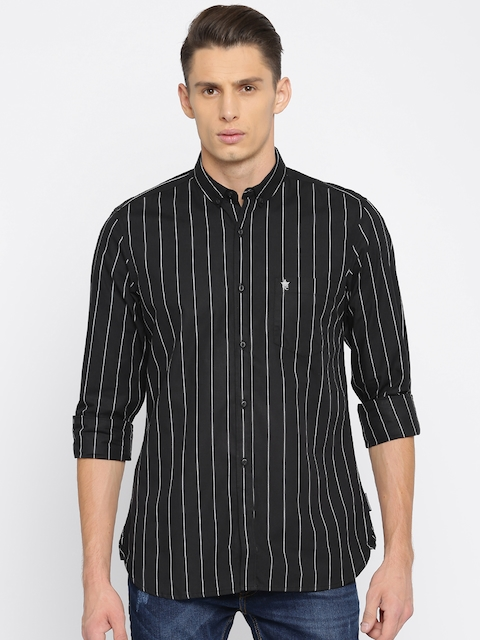 French Connection Men Black Regular Fit Striped Casual Shirt