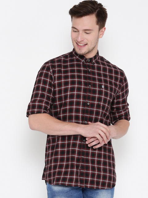 French Connection Men Black & Red Checked Casual Shirt