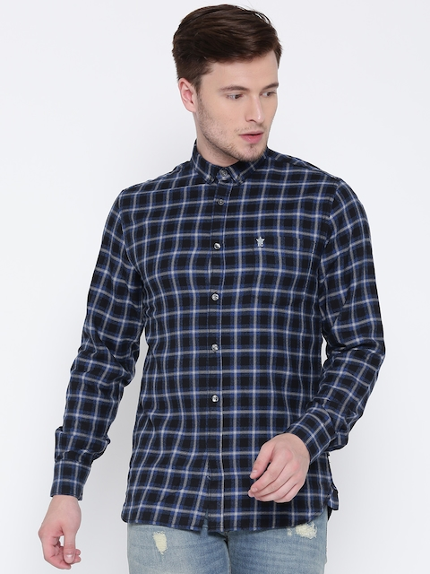 French Connection Men Black & Blue Regular Fit Checked Casual Shirt