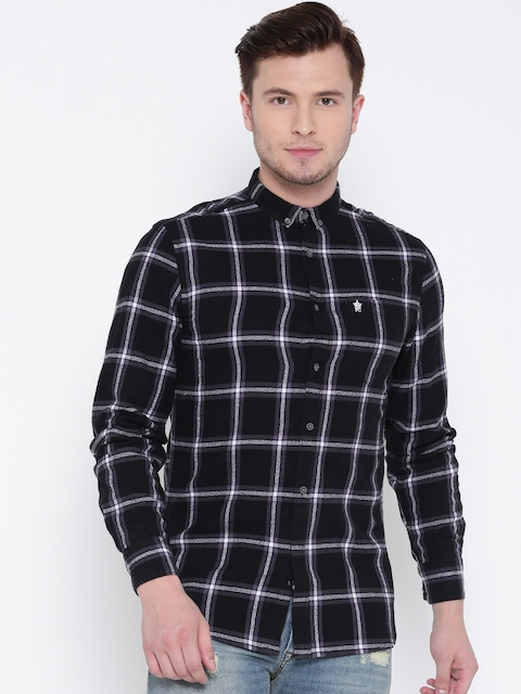 French Connection Men Black & Purple Slim Fit Checked Casual Shirt