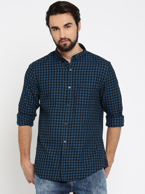 French Connection Men Black & Blue Slim Fit Checked Casual Shirt