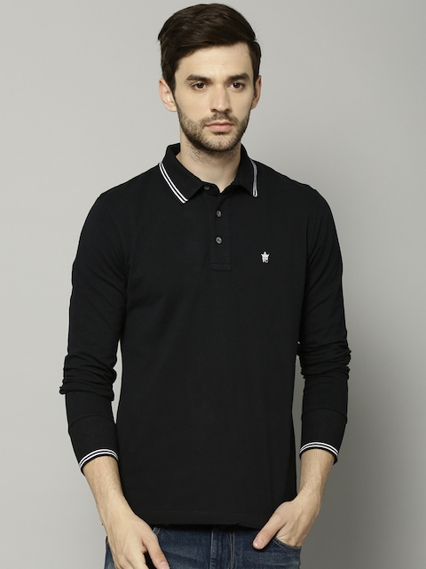 French Connection Men Black Solid Slim Fit Polo Collar T-shirt