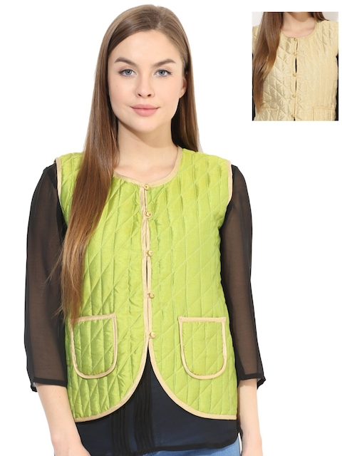 Aum Green & Beige Collarless Reversible Quilted Jacket