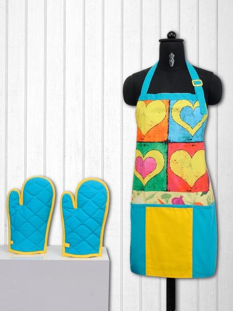 SWAYAM Blue & Yellow Cotton Kitchen Linen Set