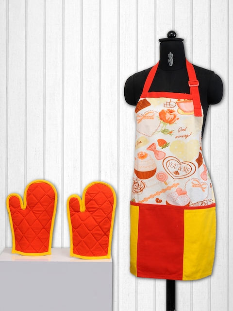 SWAYAM Cream-Coloured & Orange Cotton Kitchen Linen Set