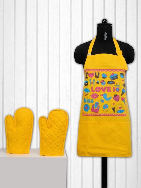 SWAYAM Yellow Printed Kitchen Linen Set