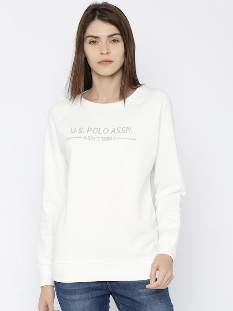 U.S. Polo Assn. Women White Printed Sweatshirt