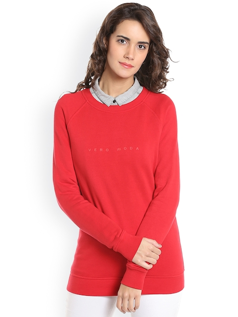 Vero Moda Women Red Solid Sweatshirt