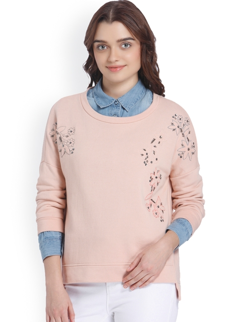 Vero Moda Women Peach-Coloured Self-Design Sweatshirt