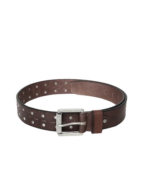 Flying Machine Men Brown Embellished Leather Belt