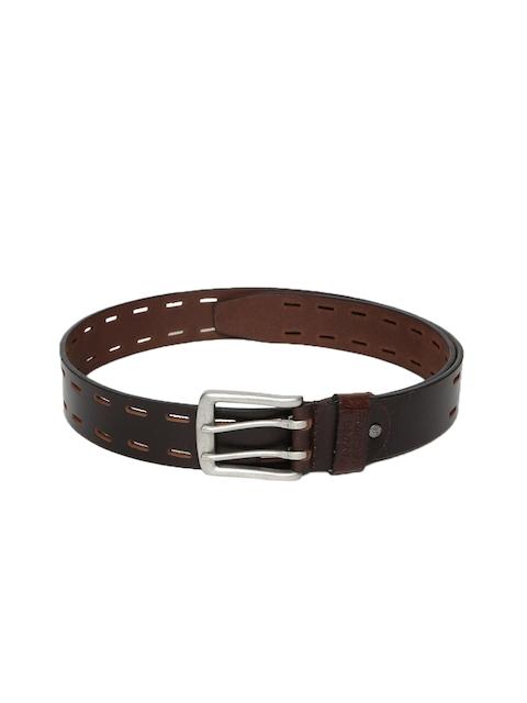 Flying Machine Men Brown Solid Leather Belt