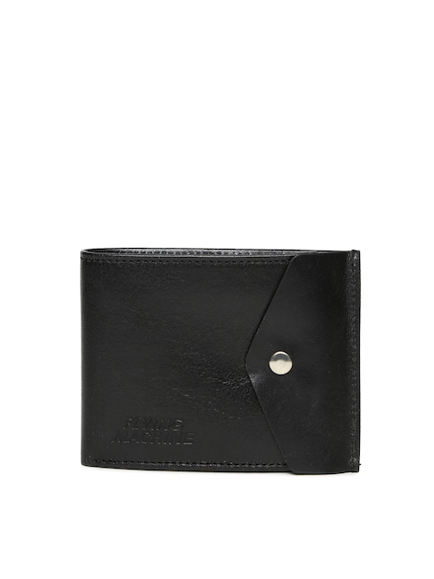 Flying Machine Men Black Solid Two Fold Leather Wallet