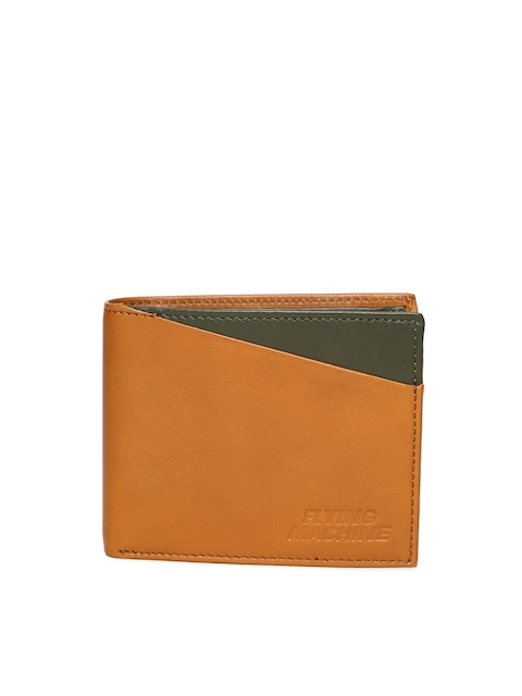 Flying Machine Men Tan Brown Solid Two Fold Leather Wallet