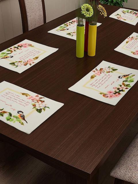 SWAYAM White & Pink Set of 6 Digital Print Tablemats
