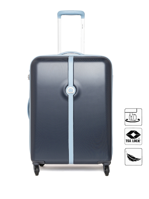 DELSEY Unisex Navy Textured Large Trolley Suitcase
