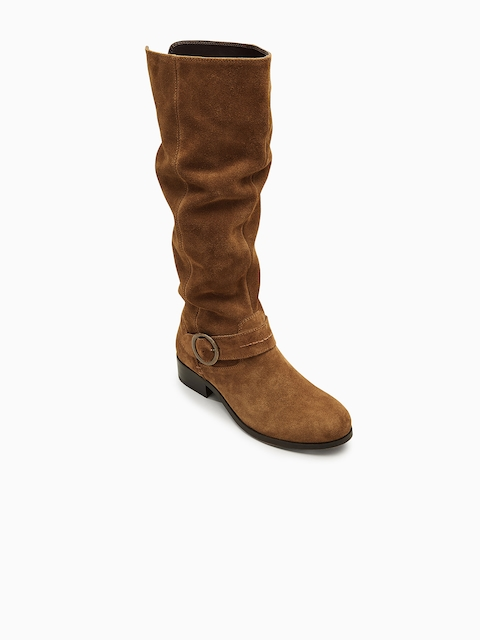 next Women Tan Solid Suede High-Top Flat Boots