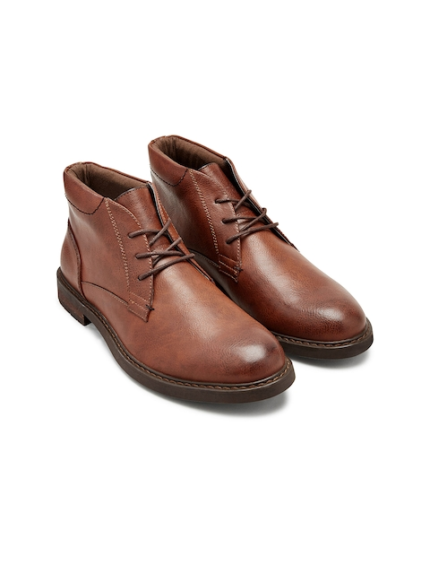 next Men Brown Solid Leather High-Top Flat Boots