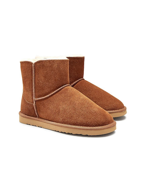 next Women Brown Solid Suede High-Top Flat Boots