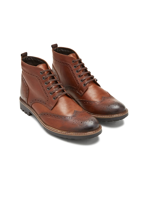 next Men Tan Solid Leather High-Top Flat Boots