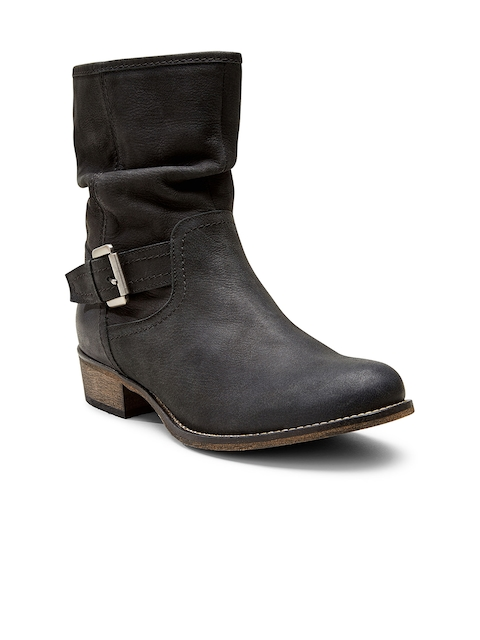 next Women Black Leather Heeled Boots