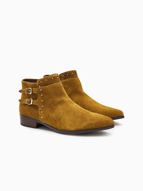next Women Tan Brown Solid Leather Mid-Top Flat Boots