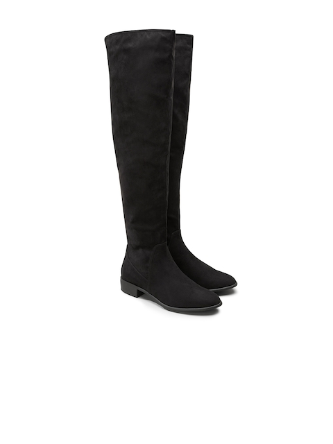 next Women Black Solid Suede High-Top Flat Boots