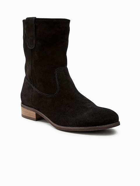 next Women Black Solid Leather High-Top Flat Boots