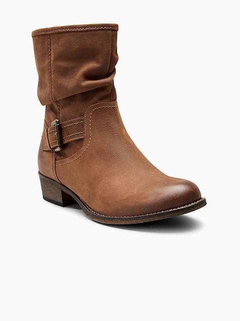 next Women Tan Brown Solid Leather High-Top Flat Boots