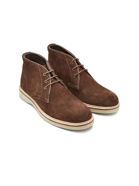 next Men Brown Solid Suede Mid-Top Flat Boots