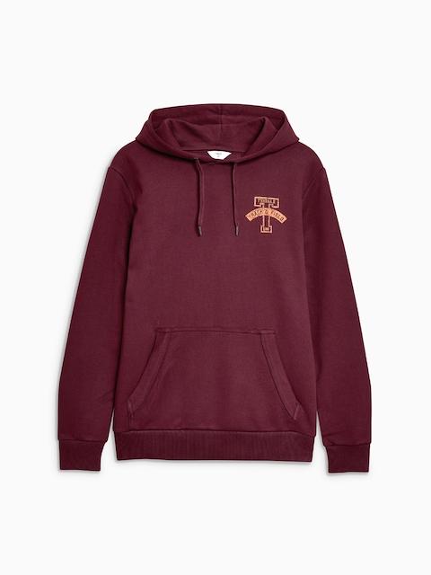 next Men Burgundy Solid Hooded Sweatshirt
