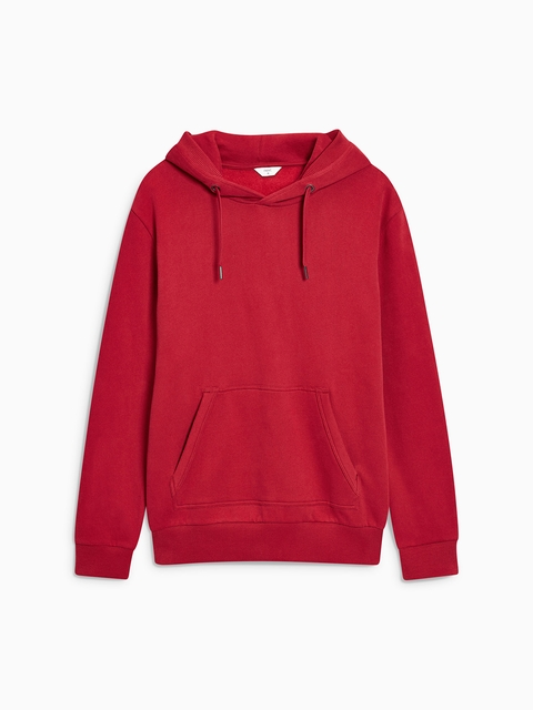 next Men Red Solid Suede Hooded Sweatshirt