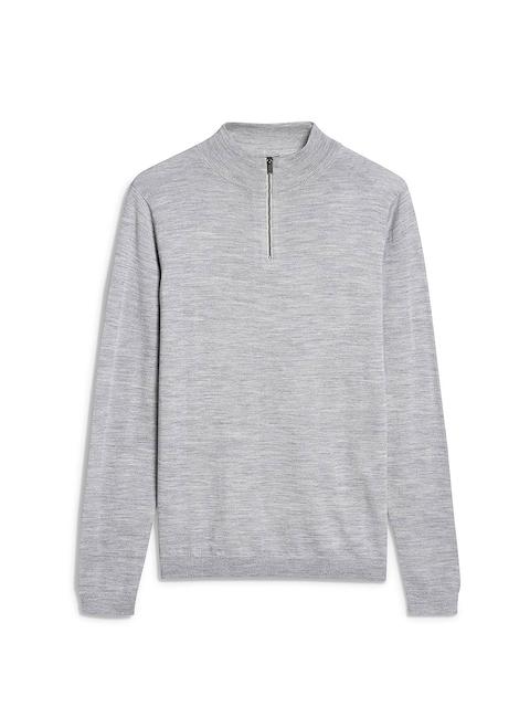 next Men Grey Self-Design Woollen Sweatshirt