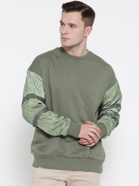 FOREVER 21 Men Olive Green Solid Sweatshirt