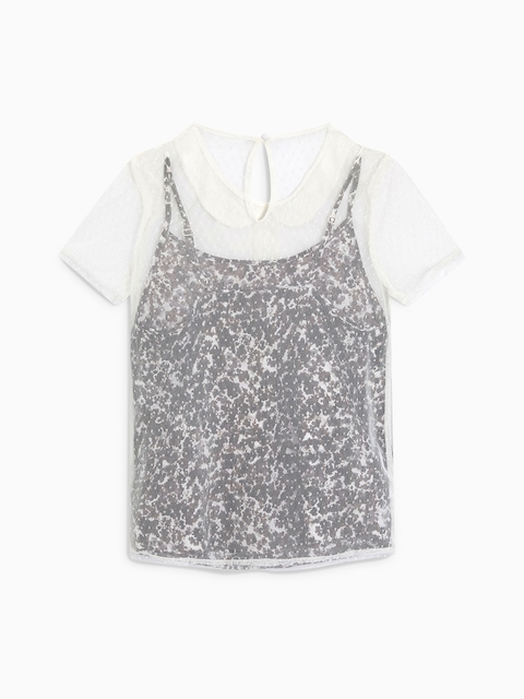 next Women Grey & White Self Design Top