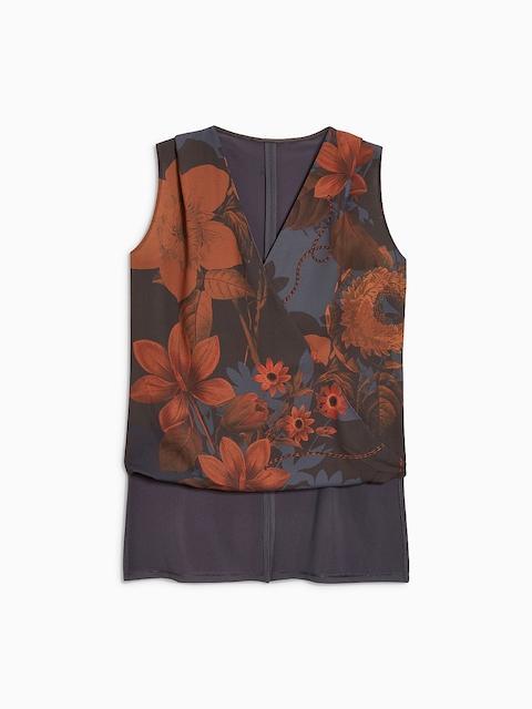 next Women Multicoloured Floral Print Wrap Top