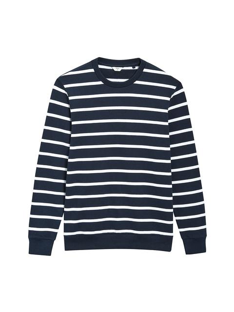 next Men Navy & White Striped Sweatshirt