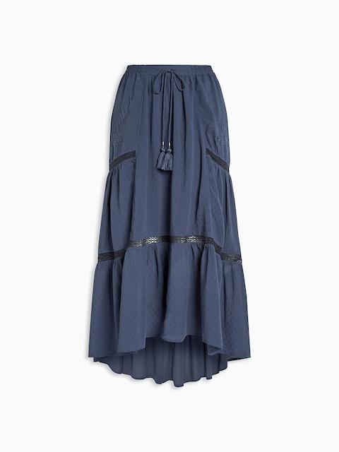 next Navy Blue Tiered Maxi Skirt