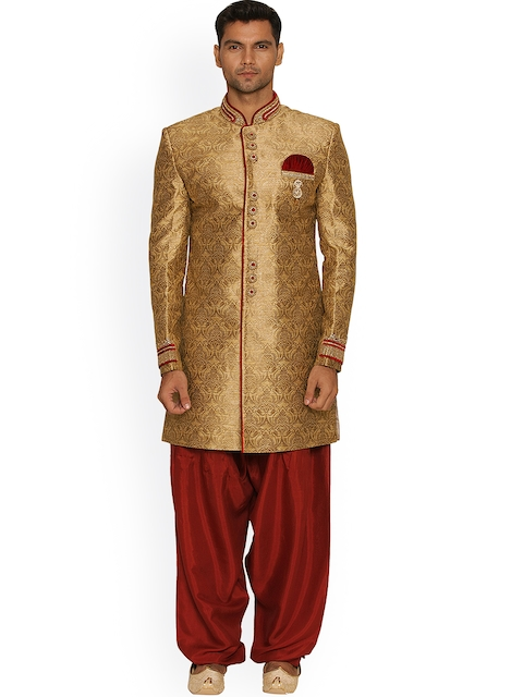 Manyavar Beige & Red Silk Sherwani  available at myntra for Rs.15999