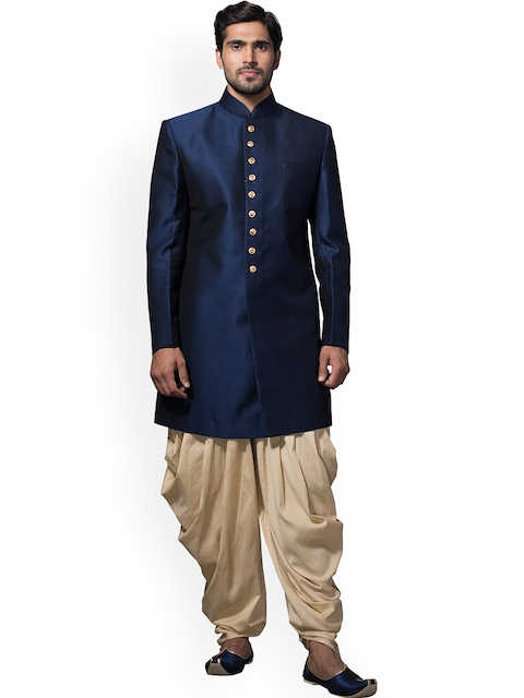 Manyavar Blue & Beige Silk Sherwani  available at myntra for Rs.11999