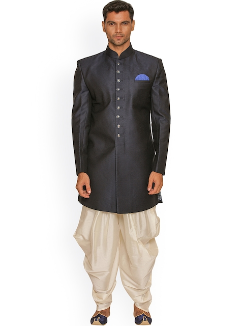 Manyavar Grey & Off-White Silk Sherwani  available at myntra for Rs.11999