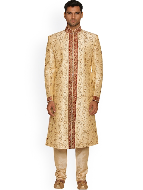 Manyavar Beige & Red Embroidered Silk Sherwani  available at myntra for Rs.9999